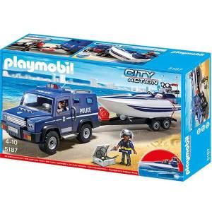 Camion della Polizia Con Motoscafo Playmobil | Massa Giocattoli