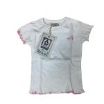 T-Shirt Bordi Ricamati Bianca   Massa Giocattoli
