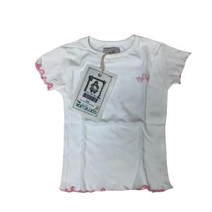 T-Shirt Bordi Ricamati Bianca | Massa Giocattoli