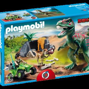 Playmobil 9231 Tirannosauro Rex con esploratore in quad|Massa Giocattoli